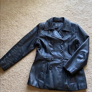 Guess Jackets & Coats - Guess Black Leather Jacket Peacoat Double Breasr
